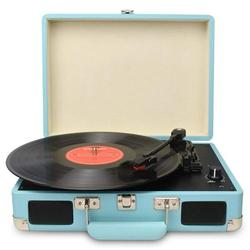 DIGITNOW Vintage Turntable, 3 Speed Vinyl Record Player-Suitcase/Briefcase Style with Built-in Stereo Speakers Turntable Record Player (Blue)