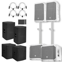 """(2) Electro-Voice ELX200-10P-W 10"""" 2-Way White Powered Speakers with 12"""" White Powered Subwoofers Package"""