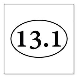 """""""DistinctInk Custom Bumper Sticker - 8"""""""" x 8"""""""" Decorative Decal - White Background - 13.1 - Half Marathon Sticker - Running"""""""