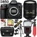 Nikon D850 45.7MP Full-Frame FX-Format DSLR Camera with Nikon AF-S DX NIKKOR 18-300mm f3.5-6.3 ED VR Lens, Deluxe Case, and 64GB Triple Battery Kit