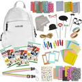 100 Piece Instax Mini 9 Camera Accessories - Travel Kit Bundle - Backpack Shoulder Bag, 60 Sheets Instant Film, Lens Cleaning Cloth, Strap, Washi Tape, Stickers, Photo Frames, Album - Smokey White