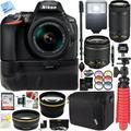 Nikon D5600 24.2 MP DX-Format DSLR Camera with AF-P 18-55mm VR & 70-300mm Lens Kit + 32GB Battery Grip Accessory Bundle