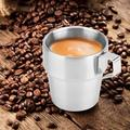 Tebru Tea Cup,Cup Holder,4Pcs Stainless Steel Durable Coffee Cup Mug with Cup Holder for Home Coffee Shop Use
