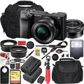 Sony a6400 4K Mirrorless Camera ILCE-6400L/B (Black) with 16-50mm f/3.5-5.6 Lens Kit and 0.43x Wide Angle Lens + 2.2x Telephoto Lens + Deco Gear Extra Battery Gadget Bag Remote & Flash Bundle