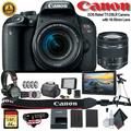 Canon EOS Rebel T7i DSLR Camera with 18-55mm Lens (Intl Model) W/ Bag, Extra Battery, LED Light, Mic, Filters, Tripod, Monitor and More - Professional Bundle