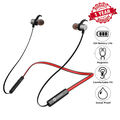 Woozik Flex Wireless Neckband Headphones, Wireless Earbuds, In-Ear Headset, Sport Fit with 12 Hour Battery Life, Built-in Mic and Magnetic Connection (F08) Red