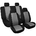 FH Group FB102BLACK102 Black Front Classic Cloth 3D Air mesh Bucket Auto Seat Cover, Set of 2, Black-Half
