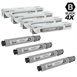 Compatible Replacements for Ricoh 841621 Set of 4 Black Laser Toner Cartridges for use in Ricoh Aficio, Savin, and Lanier MP C305