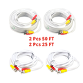 Evertech 2pcs 50 Feet and 2pcs 25 Feet White BNC Pre-made Video and Power Cable for CCTV Security Camera