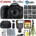 Canon HS Digital Point and Shoot Camera + Extra Battery + Digital Flash + Camera Case + 128GB Class 10 Memory Card + 1 Year Extended Warranty (Total of 2YR) - Intl Model