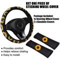 3pcs Sunflower Printed Car Decor 38cm Car Truck Steering Wheel Cover and 2pcs Shoulder Covers