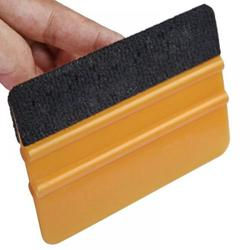 Plastic Felt Edge Squeegee Car Vinyl Film Wrapping Tools Scraper Squeegee 1 pcs with Felt Edge Car Styling Stickers Accessories (with Black Felt Edge) YJ