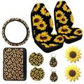 AUTCARIBLE 10PCS Car Front Seat Covers Sunflower Pattern Fashionable Soft Center Pad Covers Car Cup Holder Coaster Keyring