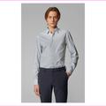 Boss Slim-fit shirt in monogram-print stretch-cotton poplin Dark Blue Size XL