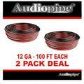 Audiopipe 2 Rolls 12 Ga 100' Speaker Wire Car Audio Stereo 12 Volt Zip Cable