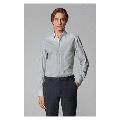 Boss Slim-fit shirt in monogram-print stretch-cotton poplin Dark Blue Size XXL