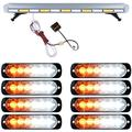 """""""Amber White 51"""""""" 96 LED Emergency Strobe Light Roof Top Car Tow Truck + 8X Ultra Slim 6-LED Flash Grille Lamps"""""""