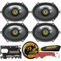 KICKER CS Series CSC68 6 x 8 Inch Car Audio System Coaxial Speakers (46CSC684) 4-Pack and Kicker Swag Bag Bundle. EVC Technology and Heavy Duty Motor-Magnet Structure for Powerful and Precise Audio