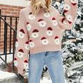 Women Christmas Sweater Cute Santa Pattern Xmas Knit Pullover Lantern Sleeve O-Neck Jumper Casual Holiday