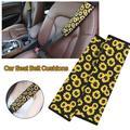 Soft Comfort Car Seat Belt Pads Cover, Universal Car Seat Belt Shoulder Pads Strap Covers for Adults, Car Seat Belt Cushions, Sunflower