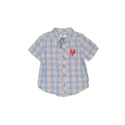 Old Navy Short Sleeve Button Down Shirt: Blue Plaid Tops - Size 5Toddler