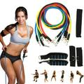 Home Gym Fitness Resistance Tube Set Gym Fitness Exercise Workout Heavy Handles Yoga Band With 2 Ankle Straps 2 Foam Handles 1 Carry Bag For Body Training / Muscle Strengthing