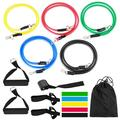 Andoer (16pcs) Resistance Bands Set Exercise Resistance Bands with Handle Set,Stretch Fitness Bands for Home Gym,Workout Equipment with 2 Threaded -Slip Handle 1 Door Anchor 2 Adjustable Ankle Stra