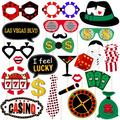 24Pcs Funny Las Vegas Party Photo Booth Props with Wooden Sticks Creative Party Decor Supplies (Glitter)