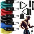 Resistance Bands Set Exercise with Handles - Workout Resistance Bands Set Stackable Up to 150LB, Indoor/Outdoor Fitness Bands with Door Anchor & Handles for Training, Home Gym Equipment for Men/W