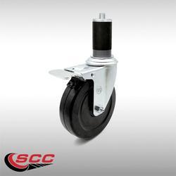 "Stainless Steel Hard Rubber Swivel Expanding Stem Caster w/5"" x 1.25"" Black Wheel and 1-1/2"" Stem & Total Locking Brake - 300 lbs Capacity/Caster - Service Caster Brand"