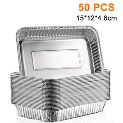 (25/50-Pack) Grills Compatible Drip Pans, Bulk Package, Aluminum Foil BBQ Grease Pans 15 * 12 * 4.6cm 50PCS