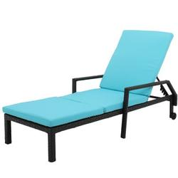 Patio Chaise Lounge, Removeble Reclining Camping Chair with Wheel, Adjustable PE Rattan Sun Recliner Chair with Seat Cushion, Poolside Garden Outdoor Chaise Lounge Chairs, JA1099