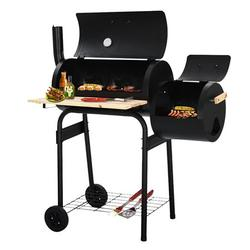 BBQ Smoker Grill, Charcoal BBQ Grill and Offset Smoker Combo with Wheels, Outdoor Cooking for Backyard Patio Camping Home with Side Fire Box, Heavy-Duty Steel - Black, K3757