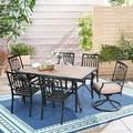 MF Studio 7PCS Patio Dining Set Metal Outdoor Furniture with 4PCS Metal Dining Chairs and 2PCS Swivel Dining Chairs and 1PC Rectangular Dining Table Suitable for Patio Garden Backyard Dining Room