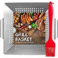 HomeMall Grill Basket for Vegetables & Meat - Large BBQ Grilling Basket - Stainless Steel Barbecue Grilling Accessories for Veggies, Kabobs, Seafood - Bonus Basting Brush