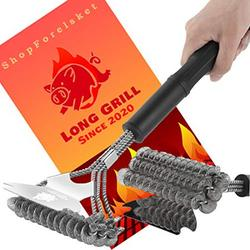 """BBQ Brush Cleaner for Grill and Scraper - BBQ Vapor and Steam Grill Cleaner Brush- Bristle Free, Non-Slip Handle, 18"""" Heavy Duty Stainless Steel Grilling Accessories for Weber Gas Steel Grill Grates"""