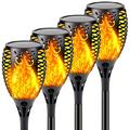 QINOL [Big Size] 4-Pack 33 LED Solar Lights Outdoor, Upgraded Solar Torch Light with Flickering Flame, Waterproof Landscape Decoration Lights for Pathway Garden - Dusk to Dawn Auto On/Off