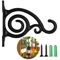 Plant Holder Flower Hanging Holder Rustic Iron Wall Hook for Hanging Planters Birdhouses Lantern Wind Chimes Wall Sconces,Vintage Home Decor Indoor & Outdoor,Black