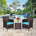 Costway Outdoor 3 PCS PE Rattan Wicker Furniture Sets Chairs Coffee Table Garden Red\Blue\Beige\Gray