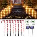 Solar Power Christmas Candy Cane Lights Pathway Marker Warm White Lights LED Yard Lawn Pathway Markers Outdoor Blinking Candy Pathway Markers Christmas Indoor Outdoor Decoration Lights