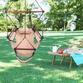 Camping Swing Chair Portable Hanging Chair Outdoor Lounge W/ Drink Holder and Foot Seat for Indoor Outdoor Deck Garden, Brown