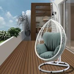 Hanging Egg Swing Chair, ACME Patio Wicker Hanging Chair with Stand and Beige Cushion, Outdoor Hanging Lounge Egg Style Swing Chair, UV-Resistant Fluffy Cushion Patio Seating, Maximum weight 265lbs