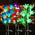 BrizLabs Solar Lily Flower Lights, 6 Pack 24 LED Outdoor Solar Powered Garden Lights , Waterproof Multi-Color Changing Flower Lights, Landscape Stake Light for Garden, Yard, Pathway, Patio Decor