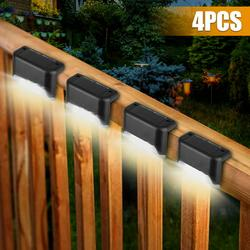 4Pcs Solar Outdoor Deck Lights, Auto On/Off Solar Step Lights Outdoor Waterproof Led Solar Lamp Garden Decorative Lighting for Stairs, Outdoor Pathway, Patio, Yard, Fences and Driveway
