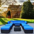 Mcombo Patio Furniture Sectional Set Outdoor Wicker Sofa Lawn Garden Rattan Conversation Chair with 6 Inch Cushions and Tea Table(Blue)6082-12PC