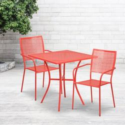 """Flash Furniture Commercial Grade 28"""" Square Coral Indoor-Outdoor Steel Patio Table Set with 2 Square Back Chairs [CO-28SQ-02CHR2-RED-GG]"""