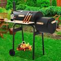 Outdoor Charcoal Grill and Smoker, Charcoal Barbecue Grill with Large Cooking Surface, Oil Drum Charcoal Furnace and Offset Smoker Combo with Wheels, for Camping Garden Backyard Cooking Picnic, K3756