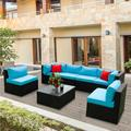 Patio Furniture Sectional Sofa Sets, 5 Piece Patio Wicker Outdoor Furniture Set with 2 Pillow, Blue Cushion and Coffee Table, Outdoor Conversation Sets for Backyard Lawn Bistro Poolside Garden, W15973
