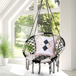 Hanging Hammock Chair Mesh Woven Rope Macrame Bar Chair Swing for Indoor/ Outdoor/ Home/ Bedroom/ Patio/ Yard/ Deck/ Garden Chair Seat, Home Decor Christmas Gifts Festival Gift