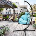 SEVENTH Egg Chair, Swing Hanging Chair, Patio Egg Chair with Metal Frame and C Type Bracket, Indoor-Outdoor Patio Wicker Hanging Egg Chair, Modern Hammock Chair with Cushion and Pillow, Blue, L1677